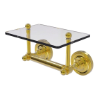 Allied Brass - Prestige Regal Collection Two Post Toilet Tissue Holder with Glass Shelf - Polished Brass