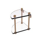 Allied Brass - Two Tier Corner Glass Shelf - Brushed Bronze - PR-3