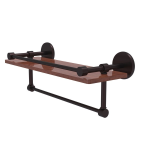 Allied Brass - Prestige Skyline Collection IPE Ironwood Shelf with Gallery Rail and Towel Bar - Antique Bronze
