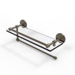 Allied Brass - Prestige Skyline Collection Paper Towel Holder with 16 Inch Gallery Glass Shelf - Antique Brass