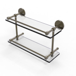 Allied Brass - Prestige Skyline Collection Tempered Double Glass Shelf with Gallery Rail - Antique Brass