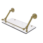 Allied Brass - Prestige Skyline Floating Glass Shelf with Gallery Rail - Unlacquered Brass