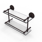 Allied Brass - Que New Collection Double Glass Shelf with Gallery Rail - Antique Bronze