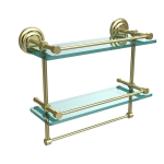 Allied Brass - Que New Collection Gallery Rail Double Glass Shelf with Towel Bar - Satin Brass