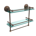Allied Brass - Que New Collection Gallery Rail Double Glass Shelf with Towel Bar - Venetian Bronze