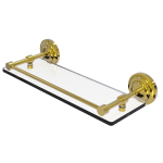 Allied Brass - Que New Collection Glass Shelf with Gallery Rail - Unlacquered Brass