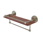 Allied Brass - Que New Collection IPE Ironwood Shelf with Gallery Rail and Towel Bar - Polished Nickel