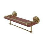 Allied Brass - Que New Collection IPE Ironwood Shelf with Gallery Rail and Towel Bar - Unlacquered Brass