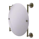 Allied Brass - Que New Collection Round Frameless Rail Mounted Mirror - Antique Brass
