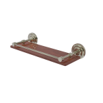 Allied Brass - Que New Collection Solid IPE Ironwood Shelf with Gallery Rail - Polished Nickel