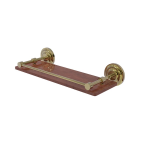 Allied Brass - Que New Collection Solid IPE Ironwood Shelf with Gallery Rail - Unlacquered Brass