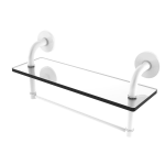 Allied Brass - Remi Collection 16 Inch Glass Vanity Shelf with Integrated Towel Bar - Matte White