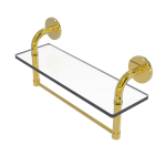 Allied Brass - Remi Collection 16 Inch Glass Vanity Shelf with Integrated Towel Bar - Polished Brass