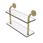 Allied Brass - Remi Collection 16 Inch Two Tiered Glass Shelf - Satin Brass