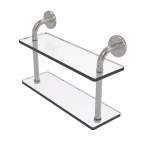 Allied Brass - Remi Collection 16 Inch Two Tiered Glass Shelf - Satin Nickel