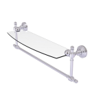 Allied Brass - Retro Wave Collection Glass Vanity Shelf with Integrated Towel Bar - Satin Chrome