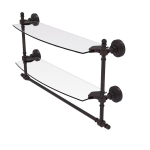 Allied Brass - Retro Wave Collection Two Tiered Glass Shelf with Integrated Towel Bar - Venetian Bronze