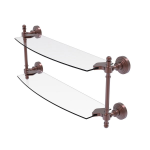 Allied Brass - Retro Wave Collection Two Tiered Glass Shelf - Antique Copper