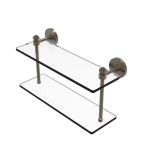 Allied Brass - Southbeach Collection Two Tiered Glass Shelf - Antique Brass