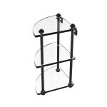 Allied Brass - Three Tier Corner Glass Shelf - Antique Bronze - SB-6