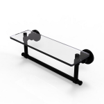 Allied Brass - Washington Square Collection Glass Vanity Shelf with Integrated Towel Bar - Matte Black