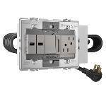 Wiremold - Furniture Power, Extra-Capacity Unit, Duplex Receptacle, 2 USB Ports, 1 Paddle Dimmer, Magnesium