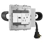 Wiremold - Furniture Power, Standard Unit, Duplex Receptacle, 1 USB Port, 1 Half Paddle Switch, White