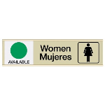Seton Identification Products - Women Available/In Use - Bilingual Engraved Restroom Sliders