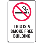"Seton Identification Products - Plastic This Is A Smoke Free Building Signs w/Graphic - 6""W x 9""H - 47780"