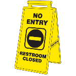Seton Identification Products - Cortina Lockin'arm Floor Stand Signs - No Entry Restroom Closed 03-600-37 - 57034
