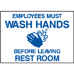 Seton Identification Products - Deluxe Housekeeping And Cafeteria Signs - Wash Your Hands - 42341