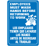Seton Identification Products - Employees Must Wash Hands Interior Bilingual Signs - 89409