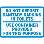Seton Identification Products - Facility Reminder Signs - Do Not Deposit Sanitary Napkins In Toilets