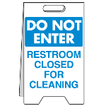 Seton Identification Products - Heavy Duty Floor Stand Signs- Restroom Closed For Cleaning