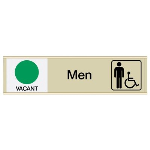 Seton Identification Products - Men W/ Accessibility Vacant/Occupied - Engraved Restroom Sliders
