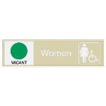 Seton Identification Products - Women W/ Accessibility Vacant/Occupied - Engraved Restroom Sliders