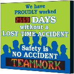Seton Identification Products - Electronic Safety Scoreboard - Proudly Worked Without Lost Time - 4089D