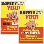 Seton Identification Products - Motivational Safety Scoreboards - Safety Starts With You