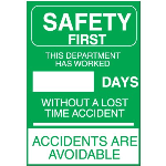 "Seton Identification Products - Safety ""Accident Free"" Signs"
