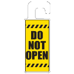 Seton Identification Products - Door Knob Hangers - Do Not Open With Hazard Lines - 2904D