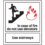 Seton Identification Products - In Case of Fire Do Not Use Elevators - Polished Plastic Fire Exit Sign - 25639