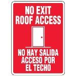 Seton Identification Products - Bilingual Roof Access Signs - No Exit Roof Access