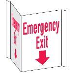 Seton Identification Products - 3-Way View Fire Safety Signs - Emergency Exit