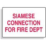 Seton Identification Products - Fire Sprinkler Control Signs - Siamese Connection For Fire Dept