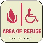 Seton Identification Products - Area Of Refuge Glow-In-The-Dark Braille Front Office Signs