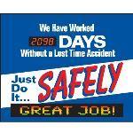 Seton Identification Products - LED Message Safety Scoreboard - Just Do It Safely - 88013