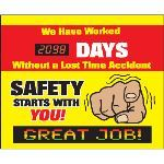 Seton Identification Products - LED Message Safety Scoreboard - Safety Starts With You - 88015