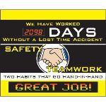 Seton Identification Products - LED Message Safety Scoreboard - Safety Teamwork - 88018