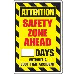 Seton Identification Products - Dry Erase Safety Tracker Signs - Attention Safety Zone Ahead