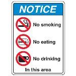 Seton Identification Products - ANSI Multi-Message Safety Signs - No Smoking No Eating No Drinking In This Area